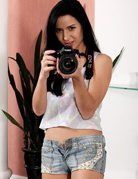 Aurelia Perez loves taking picture but also loves modelling naked