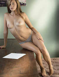 Carolina Sweets strips on the chair as she bares her amazing physique.